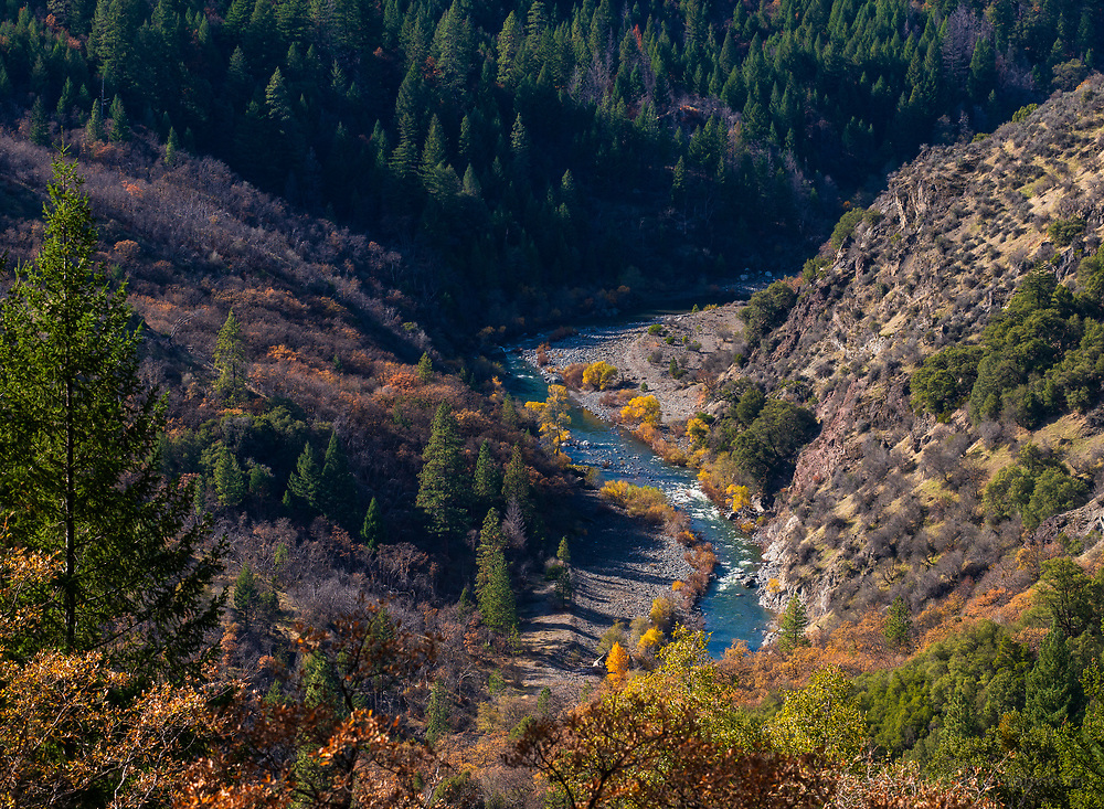 This branch of the Eel River is nearly impossible to see without a 1000+ foot hike down to it. After doing the hike, on the drive out, we caught one glimpse of it down below.