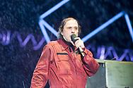 Zoran 'Prlja' Prodanović, lead singer of legendary Croatian rock group Let 3, narrating during Opera Industriale, on the opening weekend of Rijeka2020. Rijeka, European Capital of Culture 2020, Croatia © Rudolf Abraham