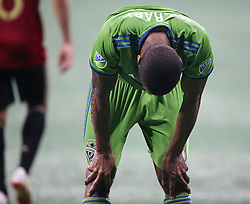 July 15, 2018 - Atlanta, GA, USA - Seattle Sounders' Jordan McCrary reacts to drawing a red card against Atlanta United during the second half on Sunday, July 15, 2018, in Atlanta, Ga. (Credit Image: © Curtis Compton/TNS via ZUMA Wire)