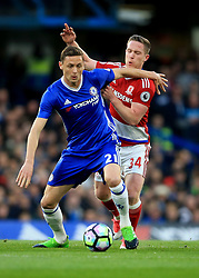 8 May 2017 - Premier League - Chelsea v Middlesbrough - Nemanja Matic of Chelsea in action with Adam Forshaw of Middlesbrough - Photo: Marc Atkins / Offside.