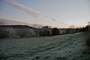 wintery landscape with frosted up grass