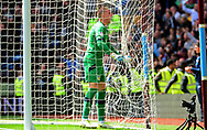 Sam Johnstone , goalkeeper of Aston Villa celebrates after team mate Gabriel Agbonlahor scores and makes it 1-0.  EFL Skybet championship match, Aston Villa v Birmingham city at Villa Park in Birmingham, The Midlands on Sunday 23rd April 2017.<br /> pic by Bradley Collyer, Andrew Orchard sports photography.