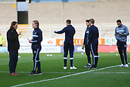 Wycombe Wanderers manager Gareth Ainsworth with his players arrive at the stadium during the EFL Sky Bet League 1 match between Burton Albion and Wycombe Wanderers at the Pirelli Stadium, Burton upon Trent, England on 26 December 2018.