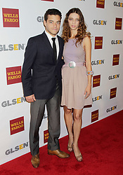 Rami Malek and Angela Sarafyan arrive for the 8th Annual GLSEN Respect Awards in Beverly Hills, California, on October 5, 2012.