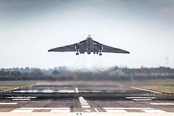© Licensed to London News Pictures. 27/06/2015. Doncaster.UK. Avro Vulcan XH558 takes off from Doncaster airport to take part in Armed forces day. This is one of the last flights for the historic aircraft, HX558 (Spirit of Great Britain) is the only airworthy example of the 134 Avro Vulcan jet powered delta winged strategic nuclear bomber aircraft operated by the Royal Air Force during the cold war. Photo credit : Andrew McCaren/LNP