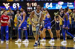 Jan 19, 2019; Morgantown, WV, USA; West Virginia Mountaineers forward Derek Culver (1) celebrates late in the second half against the Kansas Jayhawks at WVU Coliseum. Mandatory Credit: Ben Queen-USA TODAY Sports