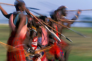 Image of Masai Mara warriors with spears, Masai Mara National Reserve in Kenya, Africa, model released by Randy Wells