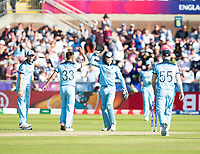Cricket - 2019 ICC Cricket World Cup - Group Stage: England vs. NZ<br /> <br /> Matt Henry of New Zealand is bowled out by Matt Wood for 7, at the Riverside, Chester-le-Street, Durham.<br /> <br /> COLORSPORT/BRUCE WHITE