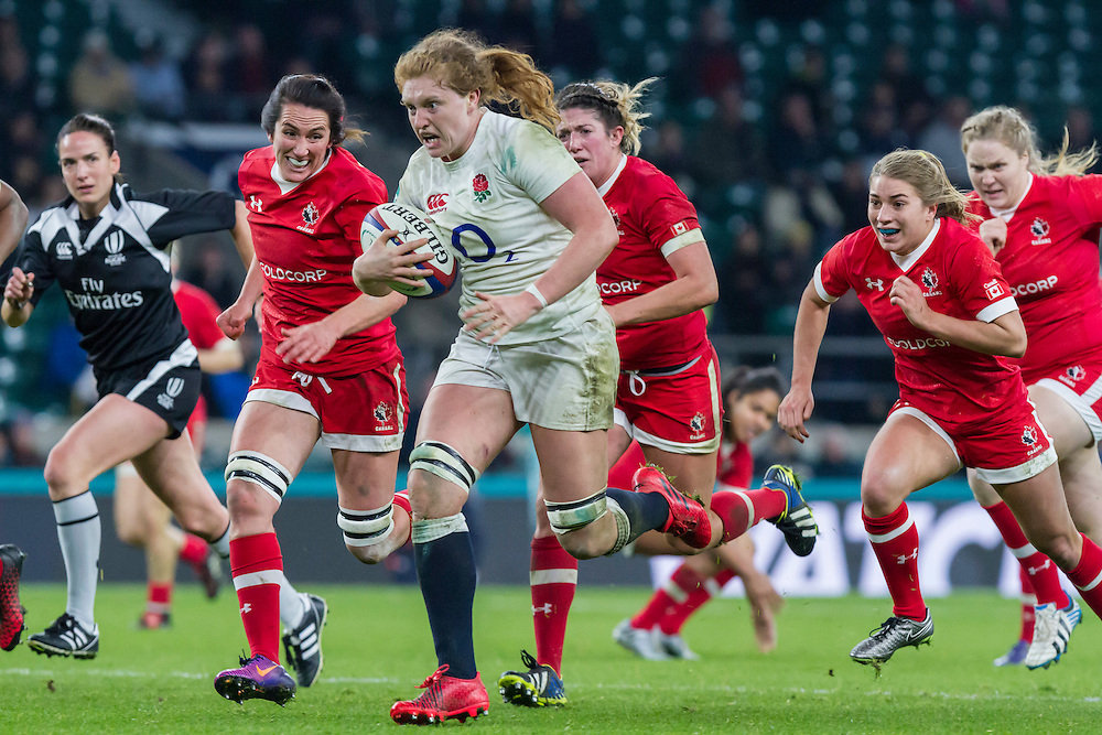 Harriet Millar-Mills makes another storming run, England Women v Canada Women in an Old Mutual Wealth Series, Autumn International match at Twickenham Stadium, London, England, on 26th November 2016. Full time score 39-6