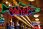 Neon signs inside the Pike Place Market in Seattle, WA