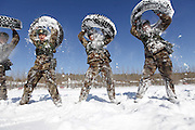 HEIHE, CHINA - CHINA OUT) <br /> <br /> Frontier Guards Snow Training<br /> <br /> Frontier guards get trained in chillness  in Heihe, Heilongjiang province of China. Frontier guards attended a training on a cold day with the temperature of minus 15 degree celcius in Heihe. <br /> ©Exclusivepix Media