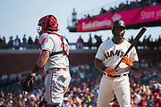 San Francisco Giants center fielder Denard Span (2) strikes out against the Philadelphia Phillies at AT&T Park in San Francisco, California, on August 20, 2017. (Stan Olszewski/Special to S.F. Examiner)