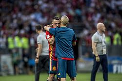 July 1, 2018 - Moscow, Russia - FIFA World Cup 2018. Russia defeated Spain.  Jordi Alba deppar. Fotbolls-VM, match 51, Spanien - Ryssland, Luzhniki stadium, Moscow, Russia  (Credit Image: © Orre Pontus/Aftonbladet/IBL via ZUMA Wire)