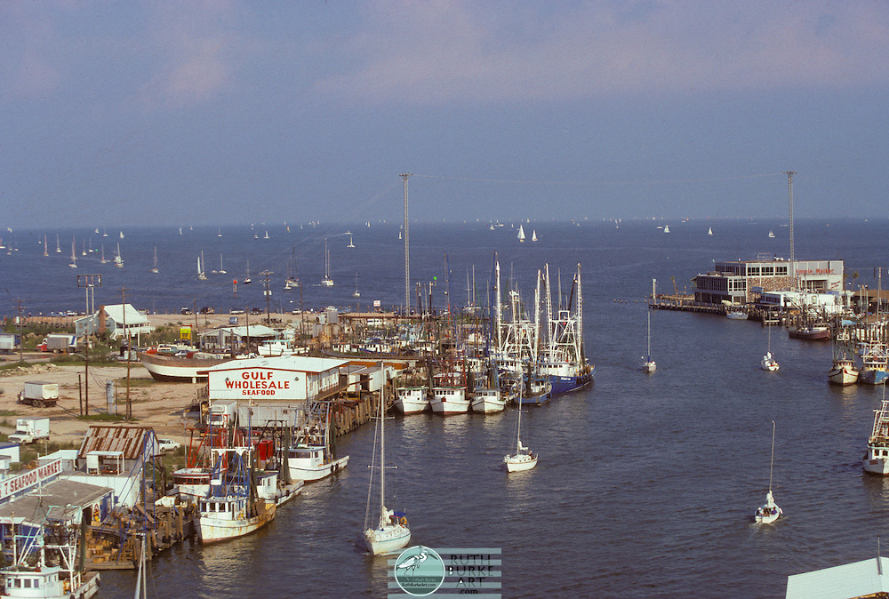 1987 Seabrook Waterfront with docked shrimp boats