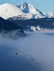 02.03.2013, Kandahar, Garmisch Partenkirchen, GER, FIS Weltcup Ski Alpin, Abfahrt, Damen, im Bild Nebel im Talboden des Werdenfelserland, Wetterfeature // Fog in the valley of Werdenfels, Weather Feature during the ladies Downhill of the FIS Ski Alpine World Cup at the Kandahar course, Garmisch Partenkirchen, Germany on 2013/03/02. EXPA Pictures © 2013, PhotoCredit: EXPA/ Johann Groder