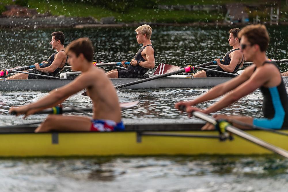 Members of the Colgate men's rowing team pracice on Lake Moraine, September 9, 2019 in Hamilton, N.Y.