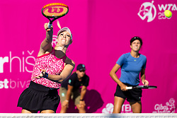 PORTOROZ, SLOVENIA - SEPTEMBER 17: Fanny Stollar of Hungary and Anna Danilina of Kazakhstan compete during the 3rd Round of WTA 250 Zavarovalnica Sava Portoroz at SRC Marina, on September 17, 2021 in Portoroz / Portorose, Slovenia. Photo by Matic Klansek Velej / Sportida
