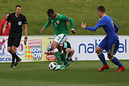 Adam Idah of Republic of Ireland (9) attacks the fullback during the UEFA European Under 17 Championship 2018 match between Bosnia and Republic of Ireland at Stadion Bilino Polje, Zenica, Bosnia and Herzegovina on 11 May 2018. Picture by Mick Haynes.