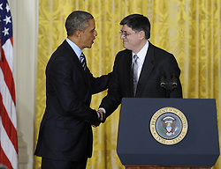 U.S. President Barack Obama (L) shakes hands with White House Chief of Staff Jacob Lew during a nomination ceremony in the East Room of the White House in Washington D.C., capital of the United States, Jan. 10, 2013. U.S. President Barack Obama on Thursday picked White House Chief of Staff Jacob Lew as the next Treasury Secretary succeeding Timothy Geithner, a big step of shaping his economic team, January 10, 2013. Photo by Imago / i-Images...UK ONLY