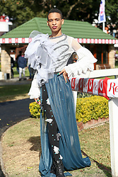 Durban. 070718. Fashion Theme for the 2018 Vodacom Durban July. - It Is Time - Every year a new theme is released to get the creative juices of the visitors and fashion desighners flowing. Picture Leon Lestrade. African News Agency/ANA. George Lambton dressed by Nelida Kweso