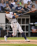 CHICAGO - JUNE 28:  Ehire Adrianza #13 of the Minnesota Twins bats against the Chicago White Sox on June 28, 2019 at Guaranteed Rate Field in Chicago, Illinois.  (Photo by Ron Vesely)  Subject:  Ehire Adrianza
