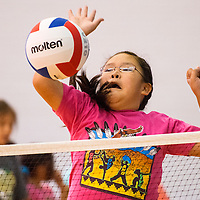 061913        Brian Leddy<br /> Lyiesha Thompson practices her attack during a voleyball camp in Window Rock Wednesday.