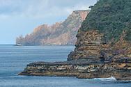 Oceania, Australia; Australian; Tasmania;Tasman Peninsula, Tasman National Park, Remarkable Cave view to Cape Raoul