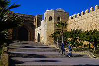 The Kasbah of the Oudayas is located at the mouth of the Bou Regreg river in Rabat, Morocco. Ouside the gate and wall.