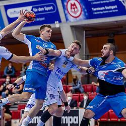 Max Haefner (TVB Stuttgart #3) ; Sebastian Heymann (FRISCH AUF! Goeppingen #10) ; Jacob Bagersted (FRISCH AUF! Goeppingen #14) ; Zharko Pesevski (TVB Stuttgart #44) ; LIQUI MOLY HBL 20/21  1. Handball-Bundesliga: TVB Stuttgart - FRISCH AUF! Goeppingen am 24.04.2021 in Stuttgart (SCHARRena), Baden-Wuerttemberg, Deutschland,<br /> <br /> Foto © PIX-Sportfotos *** Foto ist honorarpflichtig! *** Auf Anfrage in hoeherer Qualitaet/Aufloesung. Belegexemplar erbeten. Veroeffentlichung ausschliesslich fuer journalistisch-publizistische Zwecke. For editorial use only.