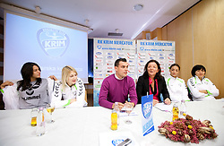 Andrea Lekic, Tamara Mavsar, Jaka Kravanja, Marta Bon, Andrea Penezic and Ljudmila Bodnjeva during press conference of handball team RK Krim Mercator before new season 2010-2011, on September 29, 2010 in M-Hotel, Ljubljana, Slovenia. (Photo By Vid Ponikvar / Sportida.com)