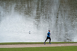 © Licensed to London News Pictures. 29/01/2019. Tunbridge Wells, UK. A jogger running round a frozen lake. Freezing cold weather at Dunorlan Park,Tunbridge Wells,Kent as snow is expected across large parts of the South East tomorrow. Photo credit: Grant Falvey/LNP