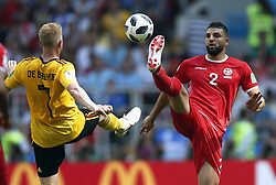 June 23, 2018 - Moscow, RUSSIA - Belgium's Kevin De Bruyne and Tunesia's Syam Ben Youssef fight for the ball during the second game of Belgian national soccer team the Red Devils against Tunisia national team in the Spartak stadium, in Moscow, Russia, Saturday 23 June 2018. Belgium won its first group phase game. BELGA PHOTO BRUNO FAHY (Credit Image: © Bruno Fahy/Belga via ZUMA Press)
