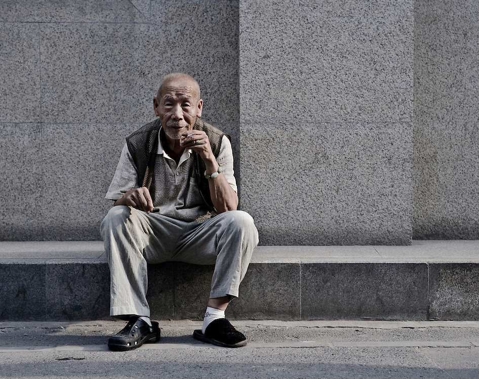 Potrait of a Senior citizen in a Beijing