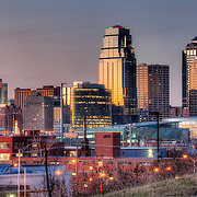 Kansas City MO skyline at dusk in December 2011