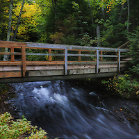 """""""Bridge at Hurricane River"""" <br /> <br /> You can take this wooden footbridge across Hurricane River and follow trails all through the woods. What a lovely place to hike on an early autumn day!"""