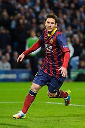 Barcelona Midfielder Lionel Messi (ARG) celebrates scoring a goal from a penalty - Photo mandatory by-line: Rogan Thomson/JMP - Tel: 07966 386802 - 18/02/2014 - SPORT - FOOTBALL - Etihad Stadium, Manchester - Manchester City v Barcelona - UEFA Champions League, Round of 16, First leg.