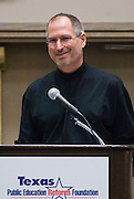 Apple CEO Steve Jobs speaks to attendees of the Texas Public Education Reform Foundation, February 16, 2007 in Austin, Texas. He and Dell Chairmand and CEO Michael Dell participated in a panel discussion about technology and education.