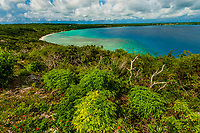 Overview of Sental Bay from Chapelle Notre Dame de Lourdes, Lifou (island), Loyalty Islands, New Caledonia