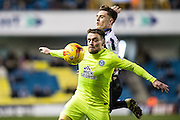Millwall midfielder Ben Thompson (8), Peterborough United forward Paul Taylor (10) during the EFL Sky Bet League 1 match between Millwall and Peterborough United at The Den, London, England on 28 February 2017. Photo by Sebastian Frej.