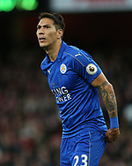 Leicester's Leonardo Ulloa in action during the Premier League match at the Emirates Stadium, London. Picture date: April 26th, 2017. Pic credit should read: David Klein/Sportimage