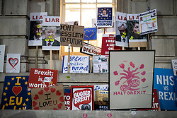 © Licensed to London News Pictures. 20/10/2018. London, UK. Placards and stickers are seen on the side of the Department for Exiting the EU office, after demonstrators took part in the 'People's Vote' march in central London, campaigning for a public vote on the final Brexit deal. Organisers are expecting over 100,000 to attend the demonstration. Photo credit : Tom Nicholson/LNP