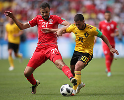 MOSCOW, June 23, 2018  Eden Hazard (R) of Belgium vies with Hamdi Naguez of Tunisia during the 2018 FIFA World Cup Group G match between Belgium and Tunisia in Moscow, Russia, June 23, 2018. Belgium won 5-2. (Credit Image: © Wu Zhuang/Xinhua via ZUMA Wire)