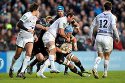 Jordan Crane (Leicester) is tackled around the neck by Mamuka Gorgodze (Leicester) - Photo mandatory by-line: Patrick Khachfe/JMP - Tel: Mobile: 07966 386802 08/12/2013 - SPORT - RUGBY UNION -  Welford Road, Leicester - Leicester Tigers v Montpellier - Heineken Cup.