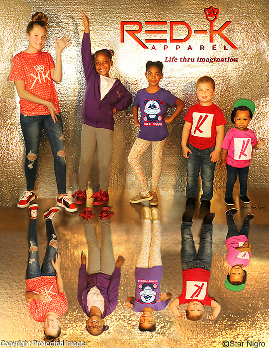 photoshoot and design courtesy of Star Nigro displayed in times square nyc featured in sept 2019 on display on rotation permanently <br /> <br /> made for Red-K apparel <br /> fashion for a cause supporting the non profit MyKingstonKids.com<br /> <br /> starnigro.com<br /> <br /> © 2021 All artwork is the property of STAR NIGRO.  Reproduction is strictly prohibited.