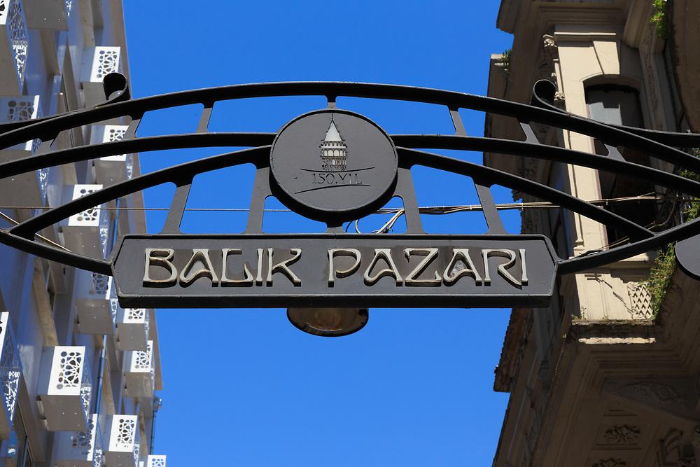 The iron arch of the Balık Pazarı (Galatasaray  Fish Market) on İstiklal in Istanbul, Turkey.