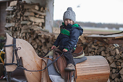 Small boy playing on wooden horse, Fuerstenfeldbruck, Bavaria, Germany