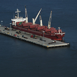 Aerial view of container ship Tanker unloading docked at Penn Terminals in Philadelphia