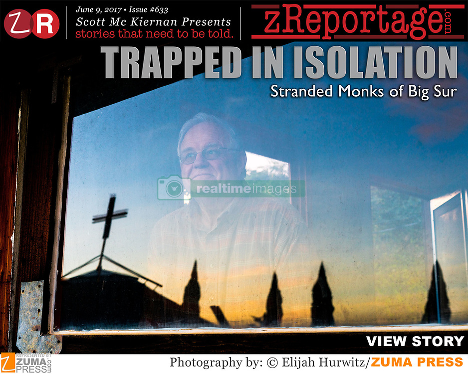 "zReportage.com Story of the Week # 633 - Trapped In Isolation - Launched June 9, 2017 - Full multimedia experience: audio, stills, text and or video: Go to zReportage.com to see more - Nestled in remote hills 1,300 feet above the Big Sur, California coastline, the New Camaldoli Hermitage has been a popular retreat for world-weary visitors in need of solitude since it was founded in 1958. That changed in early 2017 after a series of powerful winter storms called ""atmospheric rivers"" - which climate scientists predict will worsen if climate change accelerates - dumped over 100 inches of rain on coastal California, stirring up landslides and damaging bridges along the famous Highway 1. One especially massive slide on May 21st added 13 acres of land to the California coastline and is expected to keep the southern route closed for at least one year. Now cut off from the outside world, a small handful of monks and staff persist at the Hermitage, carrying on in their austere lifestyles devoted to prayer and contemplation while depending on regular food drops from helicopters and rationed propane. The monastery has been unable to receive the stream of visitors they normally depend on for income and have started a GoFundMe to help raise money to survive. The damage has cost the monastery an estimated $300,000 since hospitality is their main source of income. (Credit Image: ? Elijah Hurwitz/zReportage.com via ZUMA Wire)"