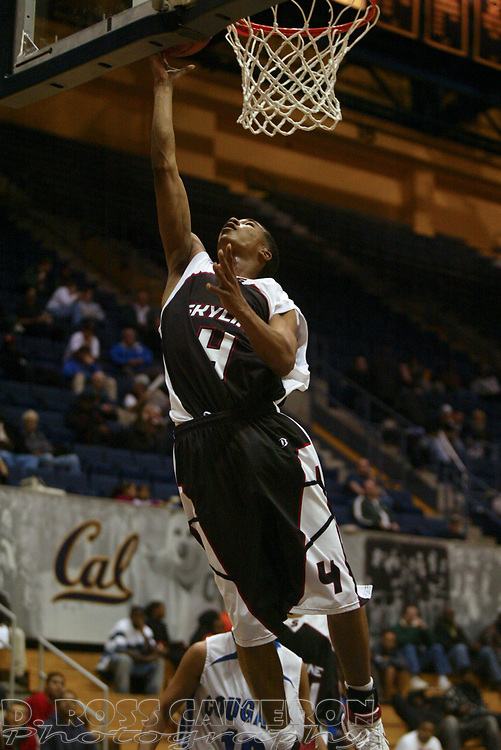 Skyline's Kwame' Vaughn (4) goes in for a layup against Newark Memorial in the second quarter of their Martin Luther King Holiday Classic boys' high school basketball game, Monday, Jan. 21, 2008 at Haas Pavilion in Berkeley, Calif. Skyline won 58-56. (D. Ross Cameron/The Oakland Tribune)