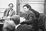Nederland, Den Haag, 15-10-1986<br /> Ad Lansink, woordvoerder onderwijs van het CDA, tijdens een vergadering in de oude tweede kamer van de onderwijscommissie.<br /> Foto: Flip Franssen